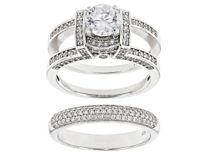 Pre-Owned White Cubic Zirconia Sterling Silver Bridal Set 4.96ctw
