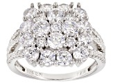Pre-Owned White Cubic Zirconia Rhodium Over Silver Ring 4.86ctw