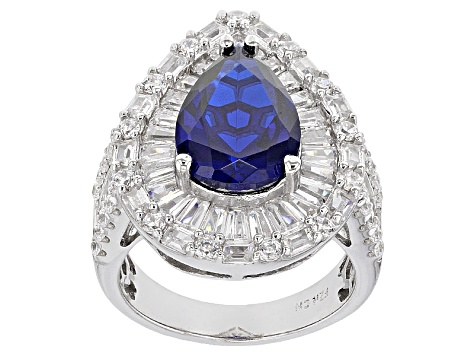 Pre-Owned Blue Synthetic Spinel And White Cubic Zirconia Rhodium Over Sterling Silver Ring 11.83ctw