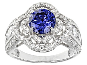 Pre-Owned Blue And White Cubic Zirconia Rhodium Over Silver Ring 4.90ctw