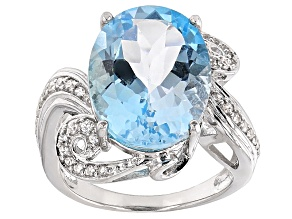 Pre-Owned Sky Blue Topaz And White Zircon Sterling Silver Ring 10.03ctw