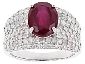 Pre-Owned Red Ruby Rhodium Over Silver Ring 4.12ctw