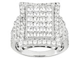 Pre-Owned White Cubic Zirconia Rhodium Over Silver Ring 4.13ctw
