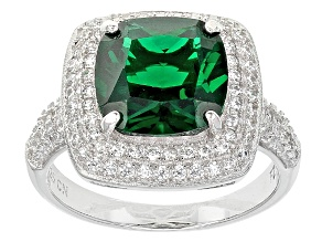 Pre-Owned Green And White Cubic Zirconia Rhodium Over Silver Ring 7.13ctw