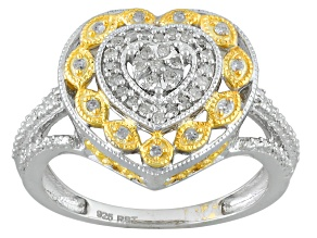 Pre-Owned White Diamond Rhodium And 14k Yellow Gold Over Sterling Silver Ring .20ctw