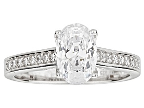 Pre-Owned Bella Luce ® 2.90ctw Oval Rhodium Over Sterling Silver Engagement Ring