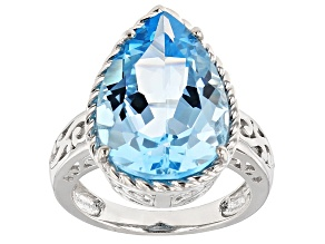 Pre-Owned Sky Blue Topaz Sterling Silver Ring 11.18ct
