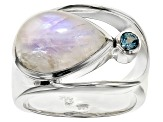 Pre-Owned Rainbow Moonstone Sterling Silver Ring .14ctw