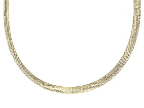 Pre-Owned 18k Yellow Gold And Rhodium Over Bronze Reversible Omega Necklace