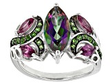 Pre-Owned Mystic Fire® Green, Mystic Topaz® Silver Ring 2.69ctw