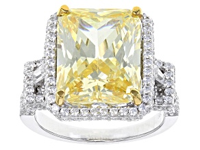 Pre-Owned Yellow And White Cubic Zirconia Rhodium Over Sterling Silver Ring 17.08ctw