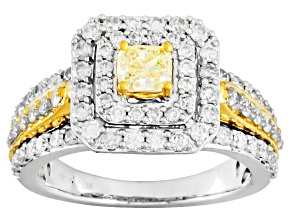 Pre-Owned Natural Yellow And White Diamonds 14k Two Tone Ring 1.50ctw