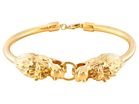 Pre-Owned 18k Yellow Gold Over Bronze Dragon Head Bracelet 7.5 inch