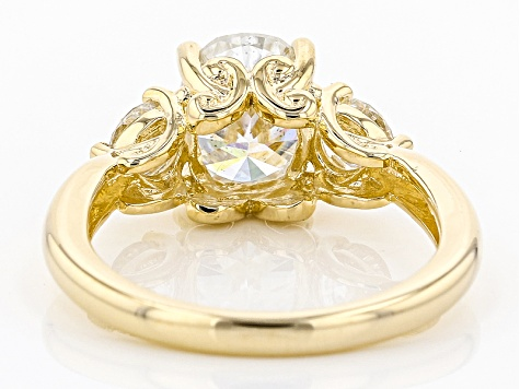 Pre-Owned Moissanite Fire® 2.76ctw DEW Oval And Round 14k Yellow Gold Over Silver Ring
