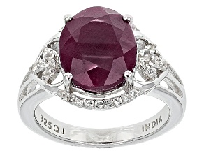 Pre-Owned Red indian Ruby And White Topaz Sterling Silver Ring 6.09ctw