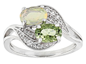 Pre-Owned Green Tourmaline Sterling Silver Ring. 1.19ctw