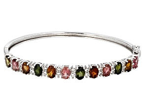 Pre-Owned Multi-Tourmaline Sterling Silver Bangle Bracelet 6.72ctw