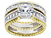 Pre-Owned White Cubic Zirconia Rhodium Over Sterling  And 18k Yg Over Sterling Ring W/ Band 7.20ctw