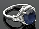 Pre-Owned Blue Sapphire Sterling Silver Ring 4.48ctw