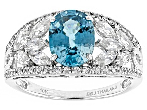 Pre-Owned Blue Zircon 10k White Gold Ring 3.92ctw