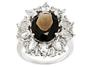 Pre-Owned Brown Smoky Quartz Sterling Silver Ring 8.70ctw