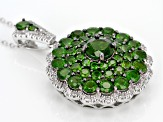 Pre-Owned Green Chrome Diopside Sterling Silver Pendant With Chain 5.80ctw