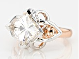 Pre-Owned Moissanite Platineve And 14k Rose Gold Over Platineve Ring 3.10ctw DEW