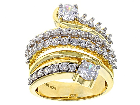 Pre-Owned Cubic Zirconia 18k Yellow Gold Over Silver Ring 4.43ctw (2.12ctw DEW)