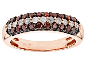 Pre-Owned Red and White Diamond 10k Rose Gold Ring .75ctw