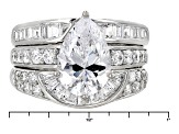 Pre-Owned White Cubic Zirconia Rhodium Over Sterling Silver Ring With Guards 7.26ctw