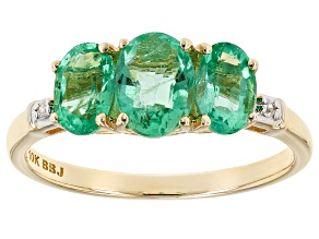 Pre-Owned Green Ethiopian Emerald 10k Yellow Gold Ring 1.33ctw
