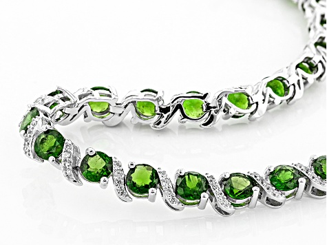 Pre-Owned Green Chrome Diopside Sterling Silver Bracelet 15.50ctw