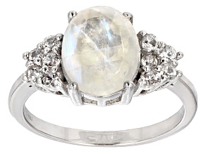Pre-Owned White Rainbow Moonstone Sterling Silver Ring .59ctw