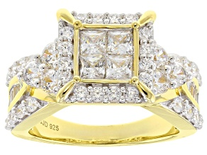 Pre-Owned White Cubic Zirconia 18k Yellow Gold Over Sterling Silver Ring 4.00ctw