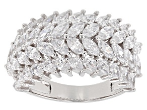 Pre-Owned White Cubic Zirconia Rhodium Over Sterling Silver Ring 8.45ctw
