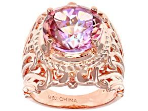 Pre-Owned Pink Salmon Sensation™ Quartz Copper Ring 5.20ctw