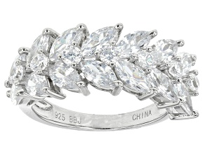 Pre-Owned White Cubic Zirconia Rhodium Over Sterling Silver Ring 5.94ctw