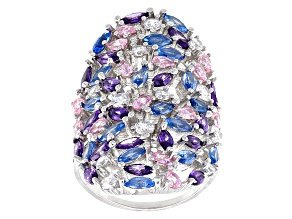 Pre-Owned White, Blue, Pink And Purple Cubic Zirconia Rhodium Over Sterling Silver Ring 8.07ctw