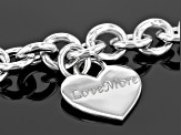 Pre-Owned Rhodium Over Sterling Silver Heart Necklace