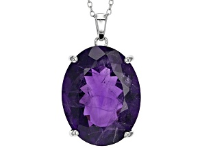 Pre-Owned Purple Amethyst Sterling Silver Solitaire Pendant With Chain 30.00ct