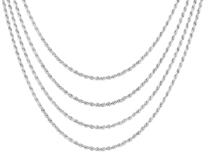 Pre-Owned Sterling Silver Diamond Cut Rope Chain Set Of 4