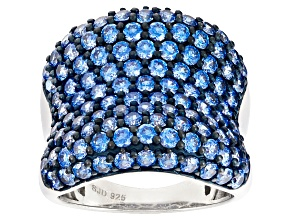 Pre-Owned Blue Zirconia From Swarovski ® Rhodium Over Silver Ring 7.35ctw