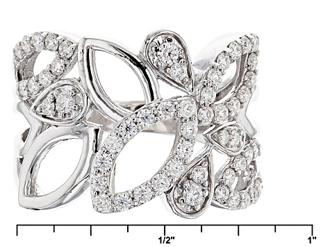 Pre-Owned Moissanite Fire® 1.06ctw Diamond Equivalent Weight Round Platineve™ Ring