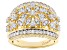 Pre-Owned White Cubic Zirconia 18k Yellow Gold Over Sterling Silver Ring 2.09ctw