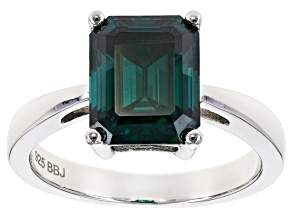 Pre-Owned Green Moissanite Platineve Ring 3.55ct D.E.W