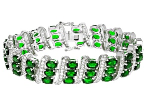 Pre-Owned Green Chrome Diopside Sterling Silver Bracelet 32.75ctw