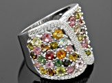 Pre-Owned Multi Tourmaline Sterling Silver Band Ring 5.00ctw
