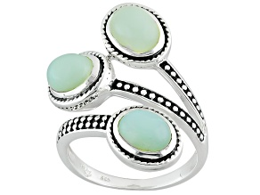 Pre-Owned Green Serbian Opal Sterling Silver Ring
