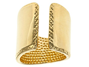Pre-Owned 18k Yellow Gold Over Bronze Split Band Ring
