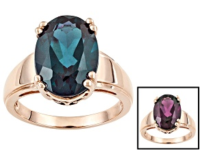 Pre-Owned Womens Oval Solitaire Ring Created Alexandrite 6.50ct 10k Rose Gold